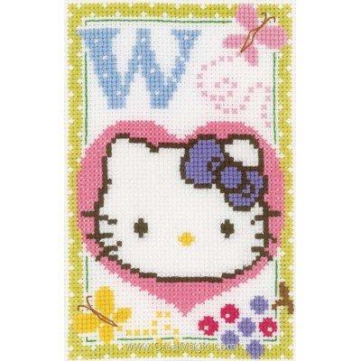 Broderie au point de croix Vervaco hello kitty lettre w