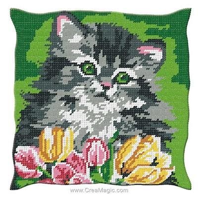Coussin Luc Création chaton et tulipe au demi point