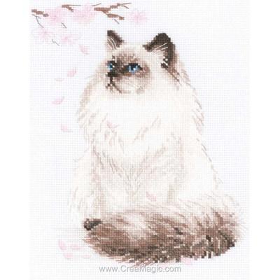 Broderie de RIOLIS au point de croix chat persan doux