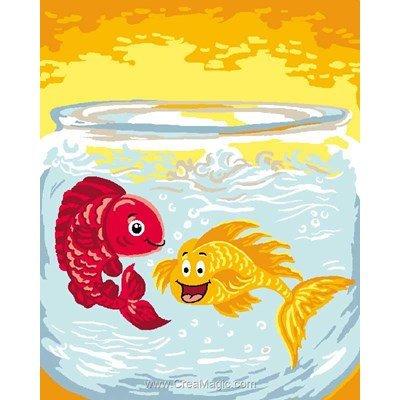 Les poissons du bocal kit canevas Luc Création pour débutant