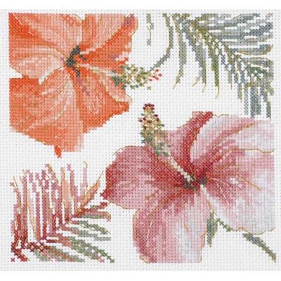 Modèle DMC au point de croix aquarelle hibiscus