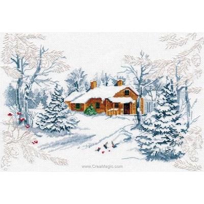 Kit tableau point de croix le conte de la forêt en hiver - Oven