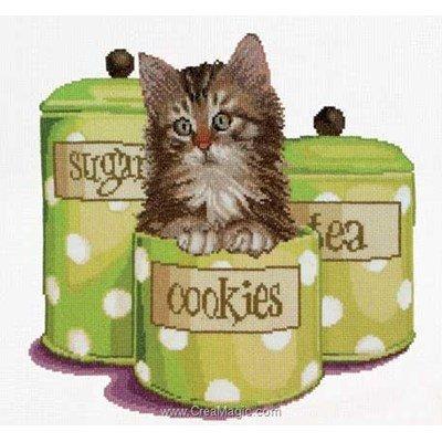 Kit à broder point de croix chat et pause cookies aida de Thea Gouverneur