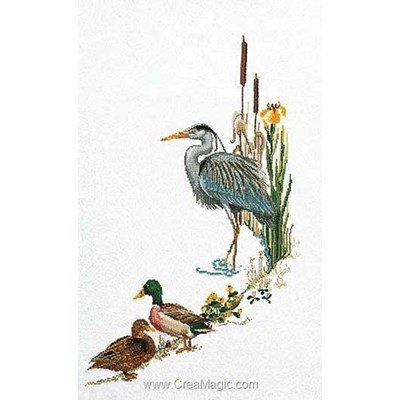Le point de croix Thea Gouverneur heron sur lin