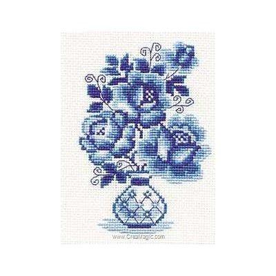 Modèle au point de croix roses bleues - RIOLIS
