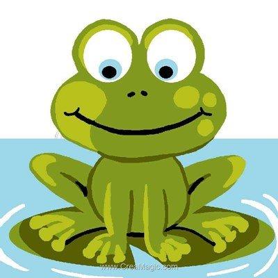 Une grenouille sur nénuphare kit canevas complet - Luc Création