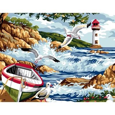 Luc Création canevas vagues dans la crique du phare