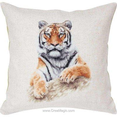 Kit coussin à broder au point compte tigre aux aguets - Luca-S