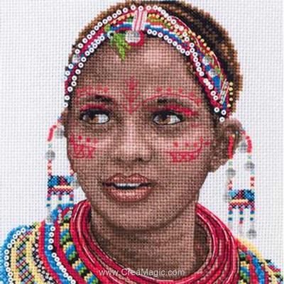 Portrait de femme masai modèle broderie au point de croix - Maia