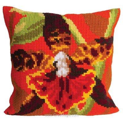 Kit coussin Collection d'art orchidée tigre au point de croix