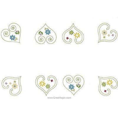Kit napperon à broder fleurs en coeur aux points de broderie imprimée - Luc Création