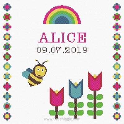 Kit broderie baby naissance ma petite abeille et les fleurs de Princesse