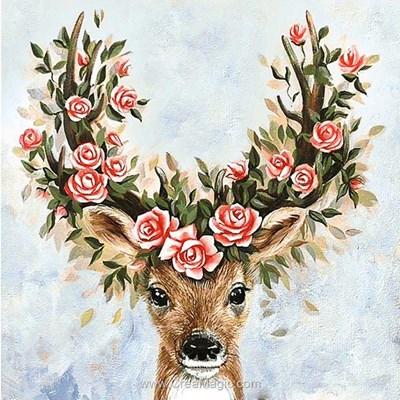 Broderie diamant le cerf à la couronne de roses - Wizardi