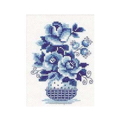 Tableau point de croix roses bleues sauvages - RIOLIS