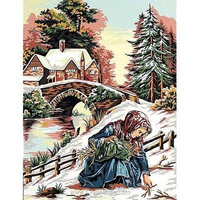Petite fille en hiver canevas - Margot