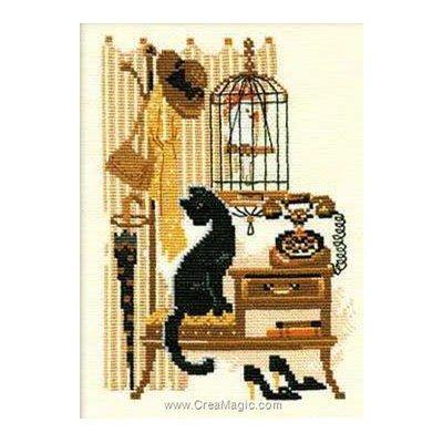 Modèle broderie point de croix RIOLIS le chat et le téléphone