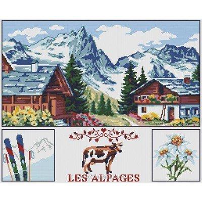 Vue sur les alpes kit tableau point de croix - Marie Coeur