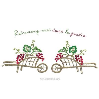 Kit de broderie traditionnelle Au Fil De L'Ange duo de brouettes aux vignes