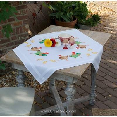 Kit nappe famille de poules au point de croix imprimé - Vervaco