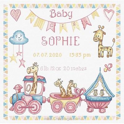 Broderie bébé naissance baby girl record - LETISTITCH