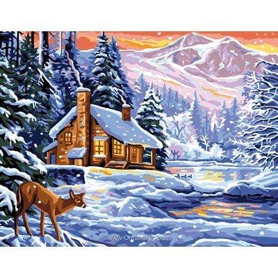 Chalet en hiver canevas - Rafael Angelot