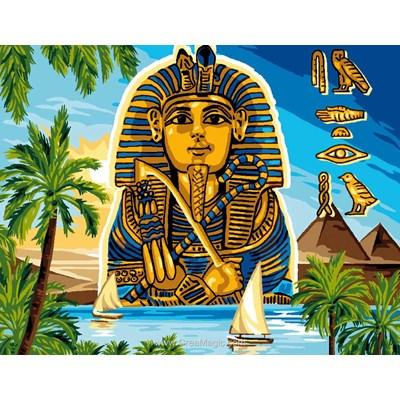 Luc Création canevas pharaon et hieroglyphes sur le nil