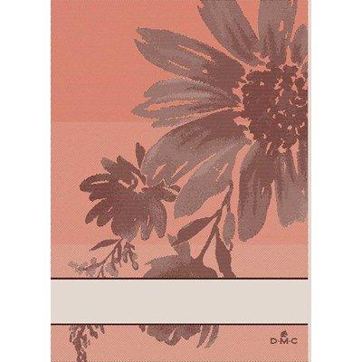 Torchon à broder torchons flowers inspiration - corail 10 - lot de 2 DMC