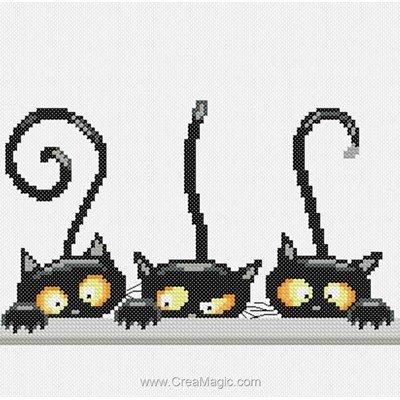 Tableau point de croix color cat - les curieux de Princesse
