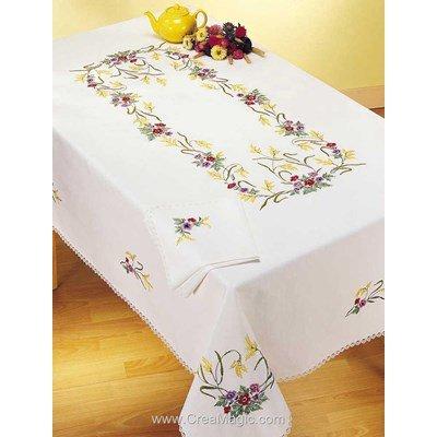 Nappe imprimée en broderie traditionnelle anémones colorés - Margot Broderie
