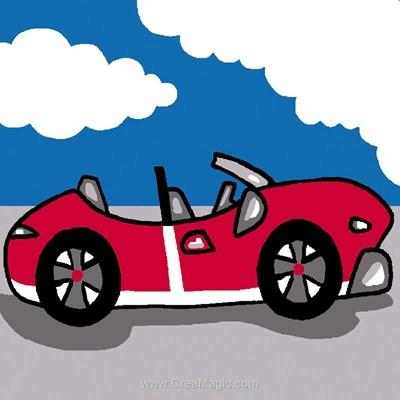 Kit canevas Luc Création pour débutant voiture de course rouge