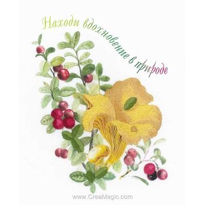 Kit de broderie imprimée champigons et baies de RIOLIS