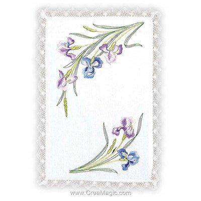 Napperon iris pastels à broder en broderie imprimée de Margot Broderie MRO-NPR8551