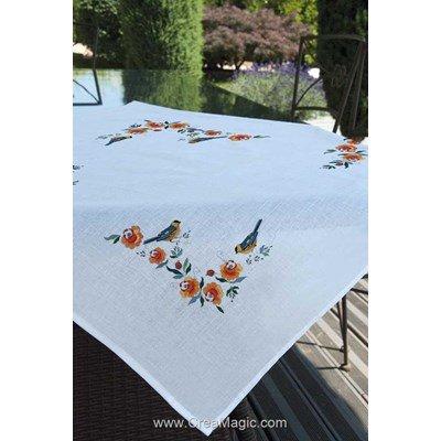 Nappe oiseaux du printemps en broderie traditionnelle - Brodélia BDL-N9104