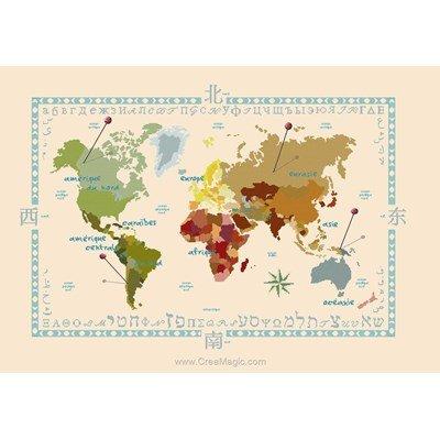 Mappe monde mes voyages point de croix - Aux 4 Points Du Monde