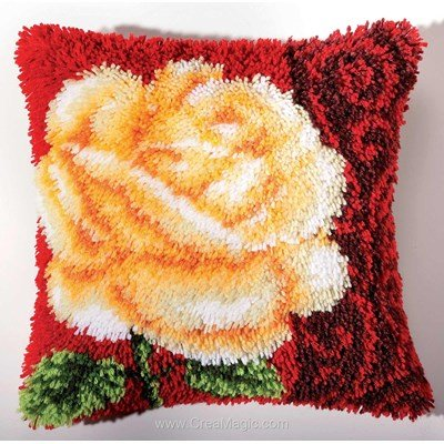 Kit coussin point noué Vervaco rose blanche