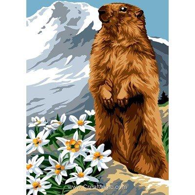 La marmotte dans la montagne blanche canevas - Margot