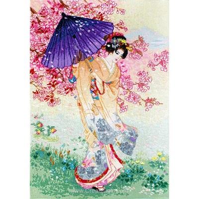 Modèle broderie l'ombrelle d'une japonaise de LETISTITCH