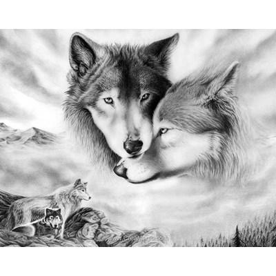 Kit broderie diamant douceur de loups - Collection d'art