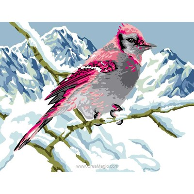 Oiseau coloré en hiver canevas - Luc Création