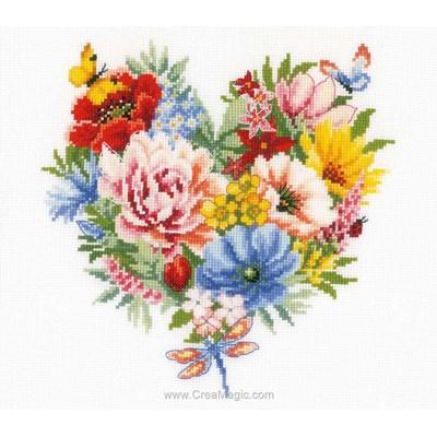 Coeur de fleurs printemps kit à broder point de croix - Vervaco