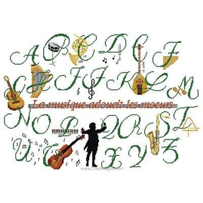 Broderie Planète Mauve abécédaire musique vert