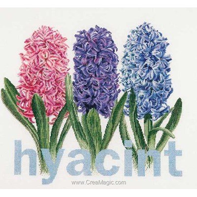 Hyacinth sur lin broderie au point de croix - Thea Gouverneur