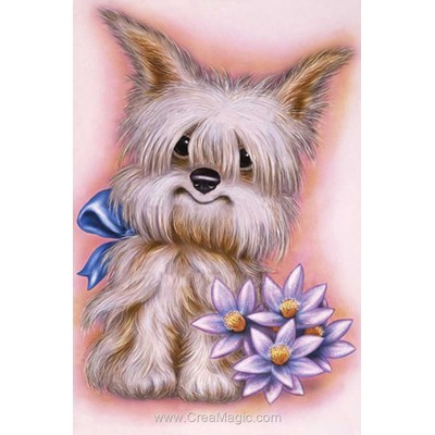 Kit broderie diamant dog with flowers - Diamond Painting