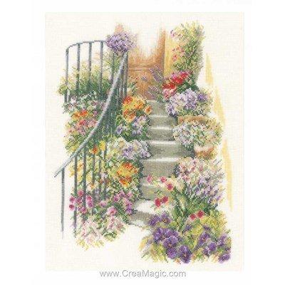 Point de croix escalier fleuri - Lanarte