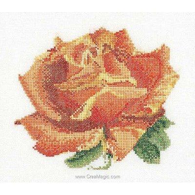 Broderie point de croix rose a sur lin de Thea Gouverneur