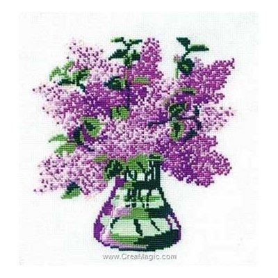 Broderie au point de croix RIOLIS vase de lilas
