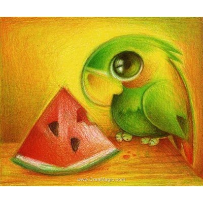 Kit broderie diamant Diamond Painting parrot with watermelon