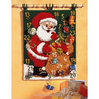 Kit tapis au point de croix calendrier de l'avent père noël mural - Vervaco