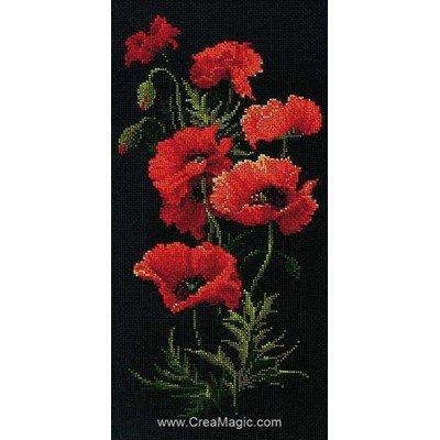 Broderie au point compté RIOLIS 6 coquelicots en fleur