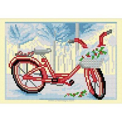 Kit point de croix Luc Création bicyclette de l'hiver
